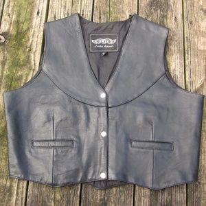 UNIK Black Leather Motorcycle West Vest 3XL Moto